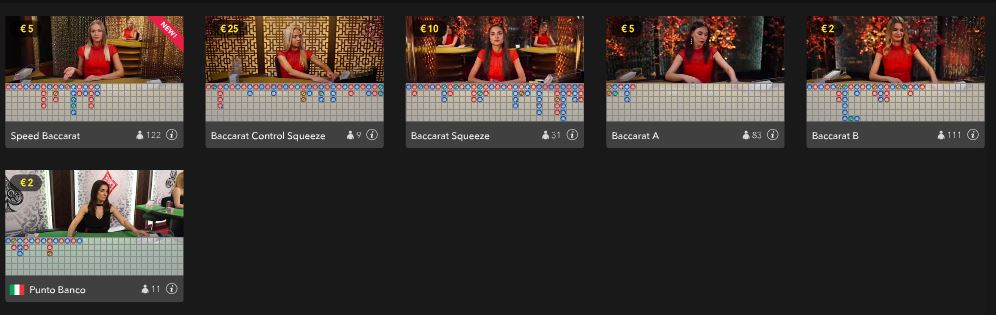 live baccarat games