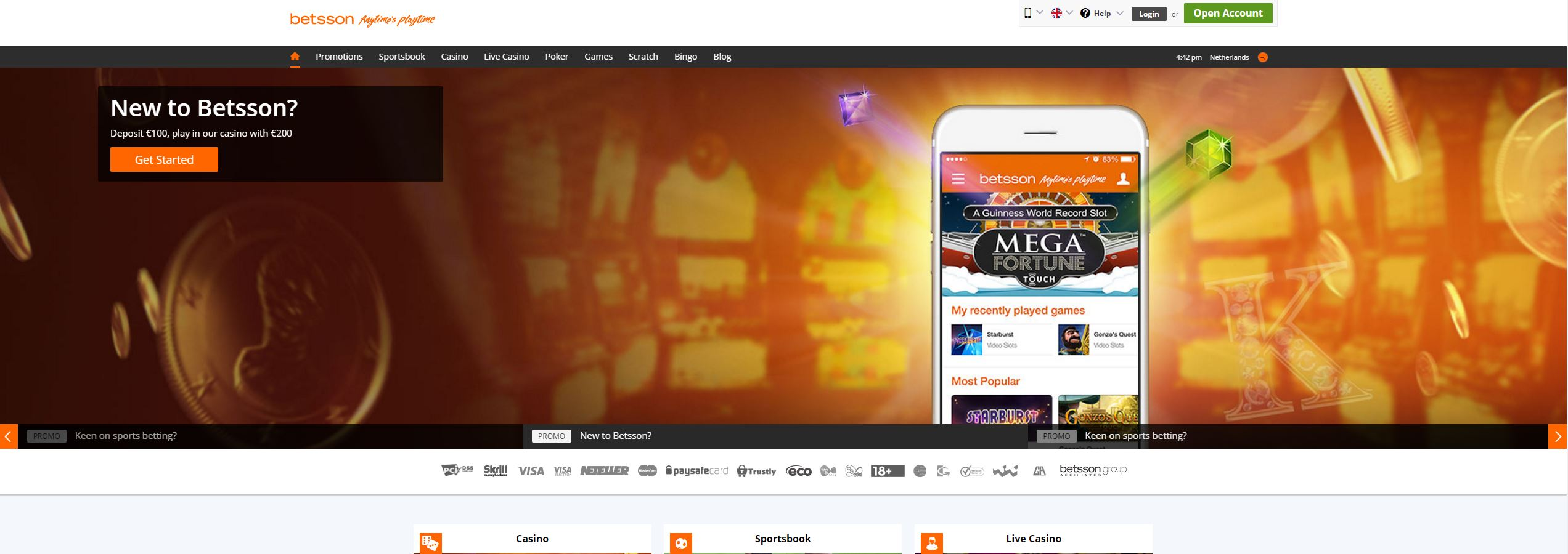 Betsson Home Page