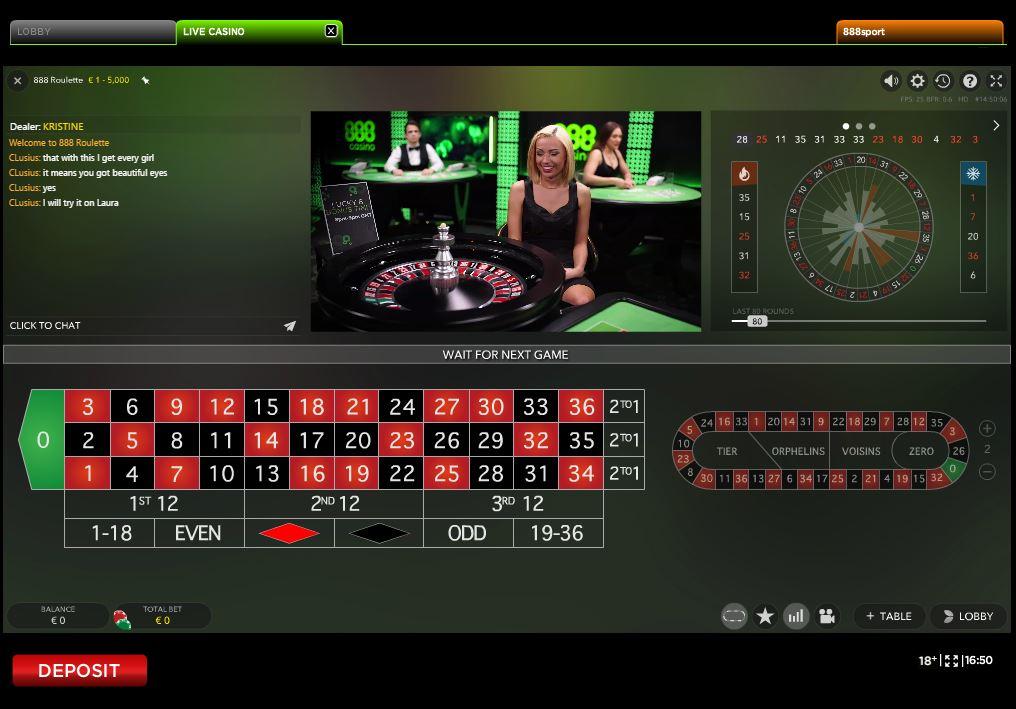888 Live Casino Roulette