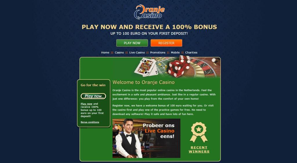 Oranje-Casino-Live- Casino-Homepage
