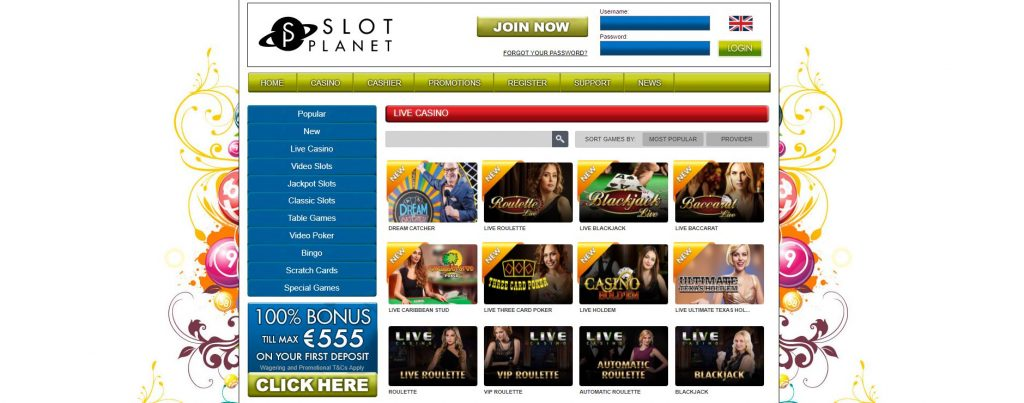 Slot Planet Live Casino homepage