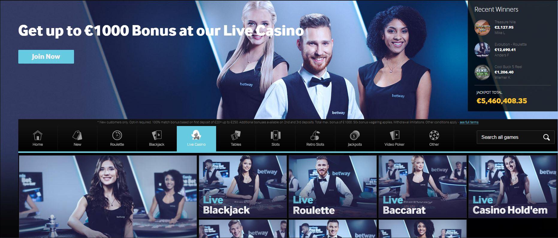 Betway Live Casino website
