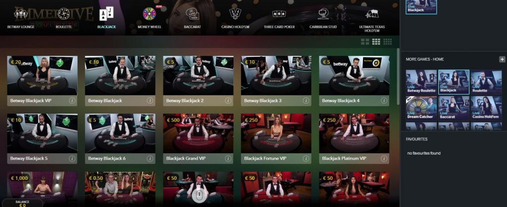 Betway Live Casino Evolution Gaming2