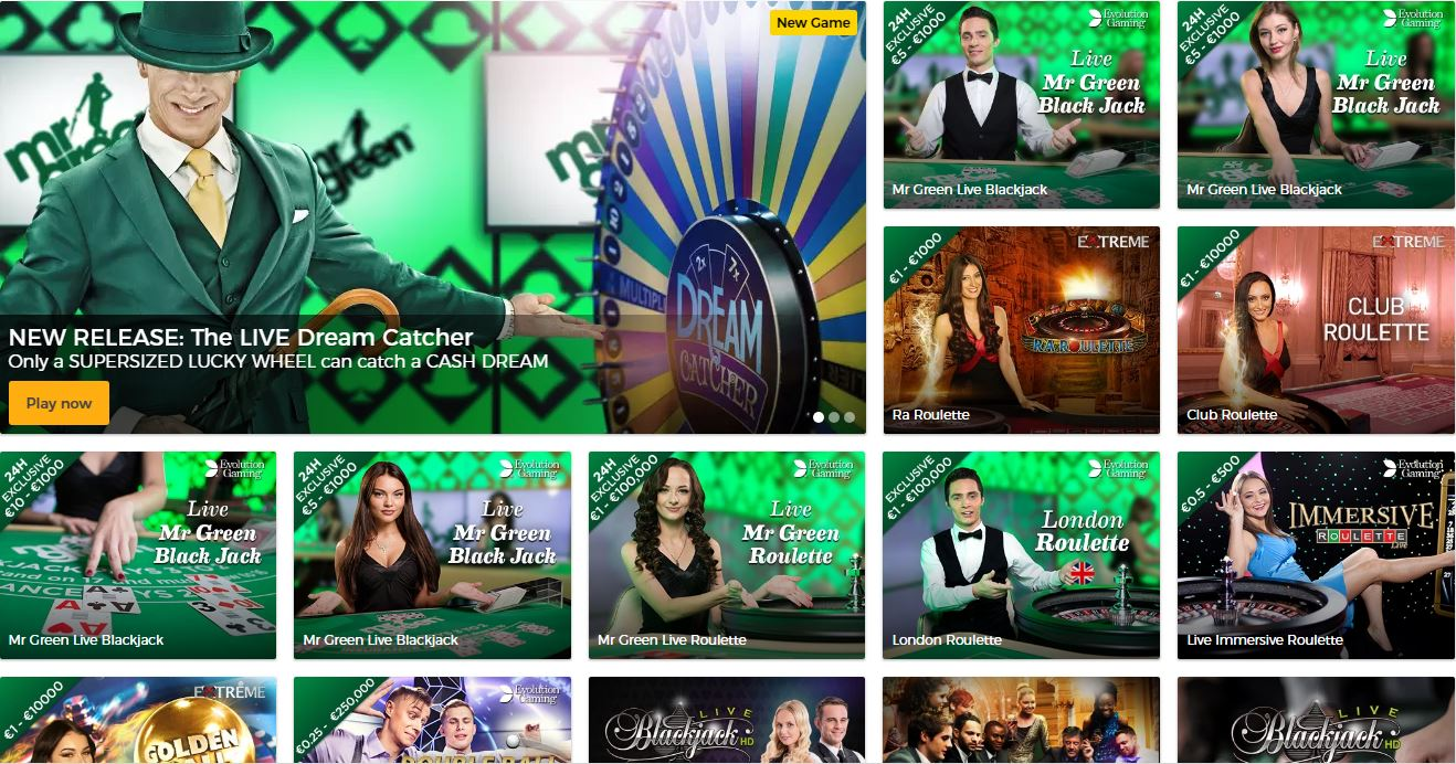 Mr. Green Live Casino Games