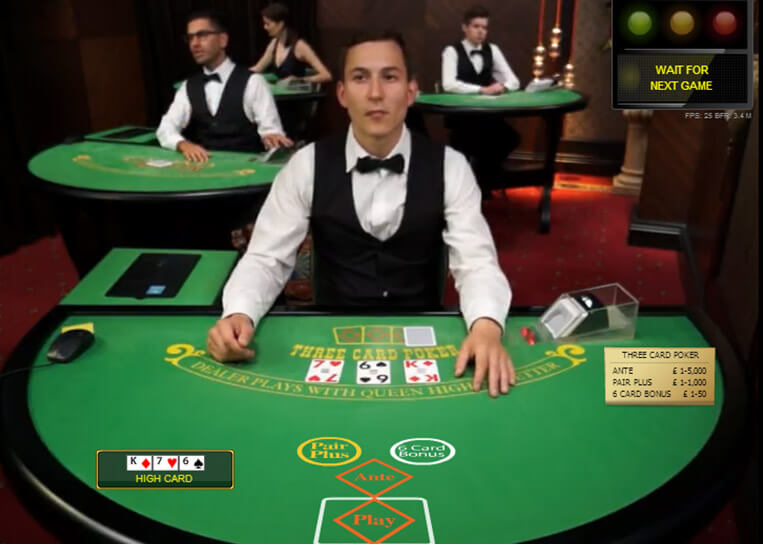 Live Three Card Poker Table