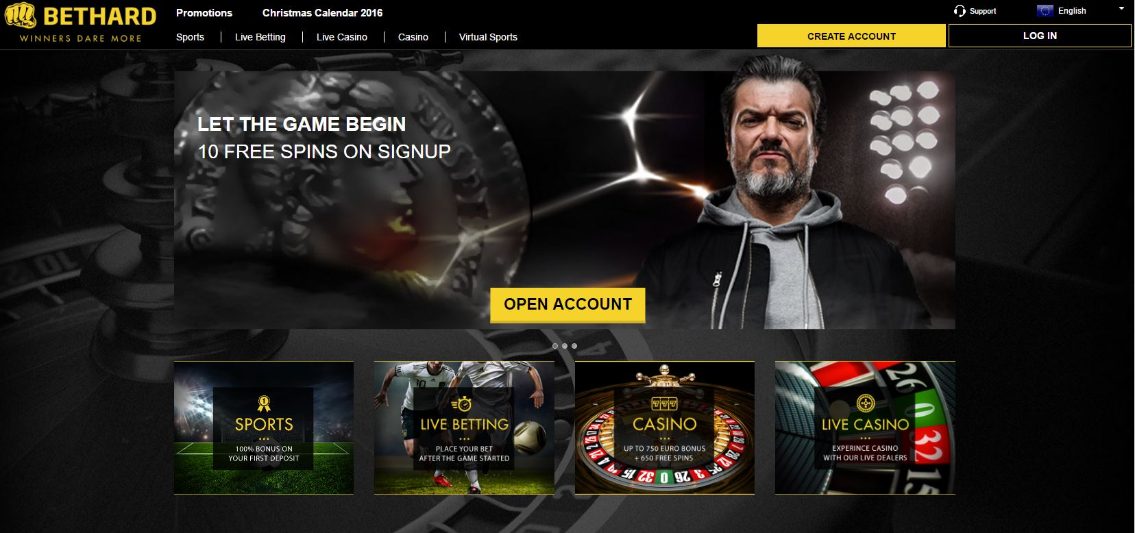 Bethard Live Casino Frontpage