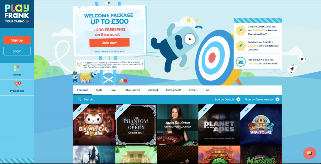 PlayFrank Live Casino Homepage