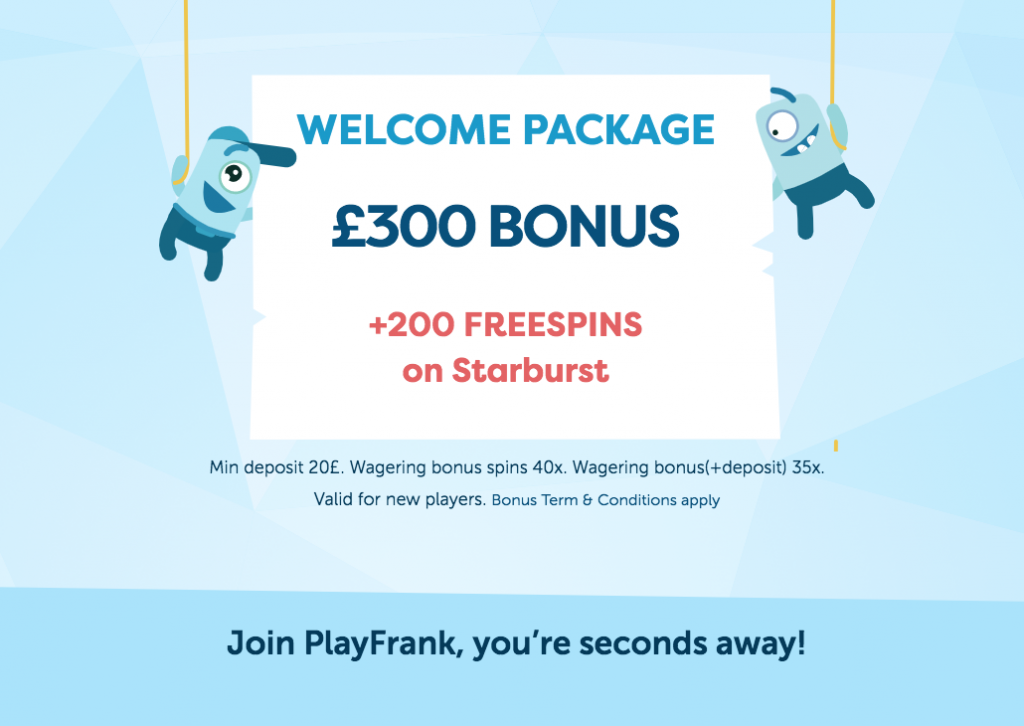 PlayFrank Casino Welcome Offer