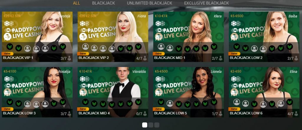 Paddy Power Blackjack Live Casino Playtech