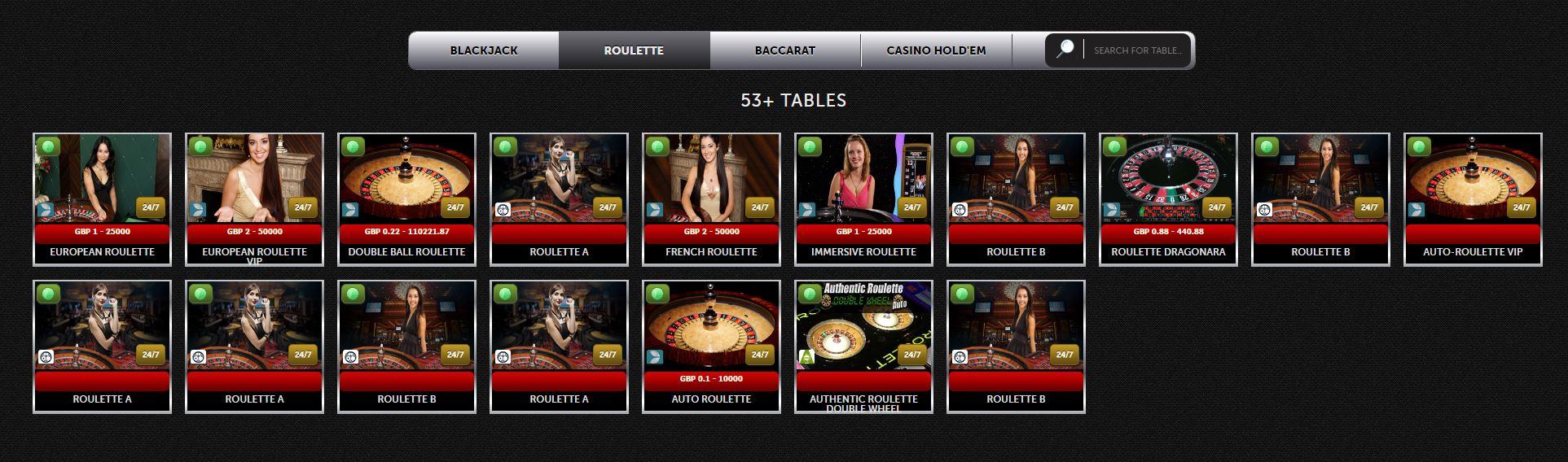 Roulette Spinson Live Casino