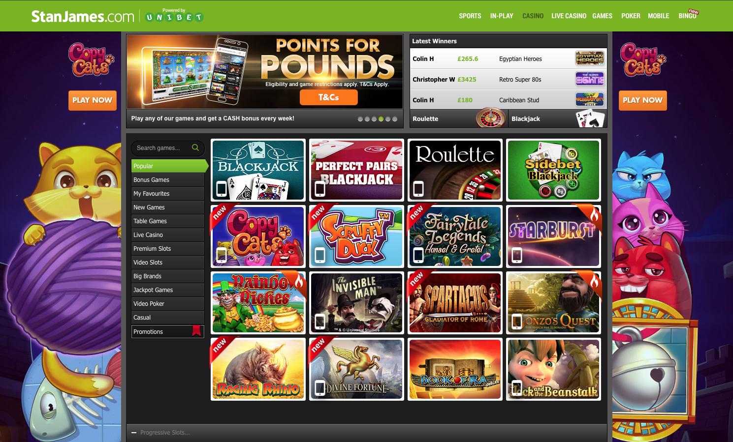 StanJames Casino Menu