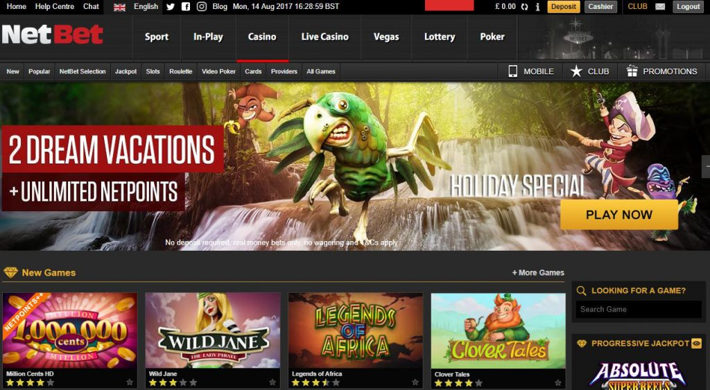 NetBet Live Casino page