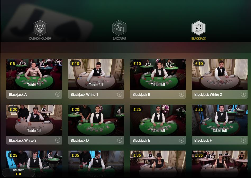 All British Live Casino Blackjack