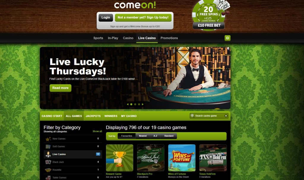 comeon live casino website
